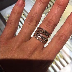 DAVID YURMAN DOUBLE x CROSSOVER Ring 18k gold Sz 6